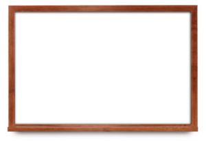 whiteboard with cherry wood frame