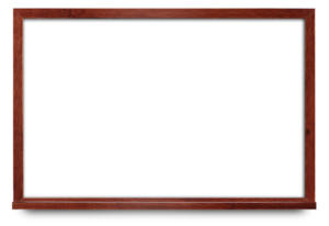 Narrow mahogany wood framed marker board