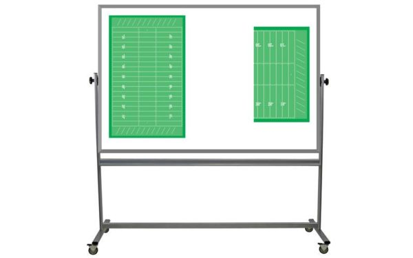 rolling, two sided whiteboard with football field images on one side, 48x72 inch surfaces
