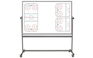 rolling, two sided whiteboard with hockey ice rink images on one side, 48x72 inch surfaces