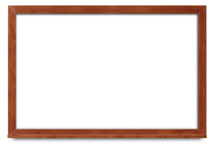 white board with cherry wood frame
